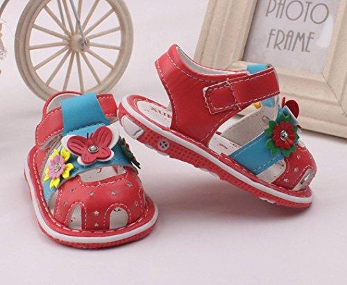 Chaussures de bébé avec le sonore Pour 0-36 mois ,Transer ® Bébés filles fleurs Sandales avec des chaussures antidérapantes à semelles douces Rouge