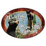 Nostalgie Blech Schild 'Welcome - Wipe Your Paws' (Putz deine Pfoten (ab)) Oval, Größe ca 30cm x 43 cm