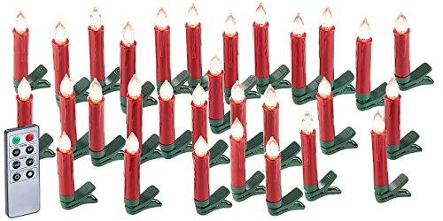 Lunartec 30er-Set LED-Weihnachtsbaum-Kerzen mit IR-Fernbedienung, rot