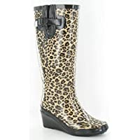 VIZ Ladies Girls Leopard Wedge Wellington Boots Funky Shiny Design