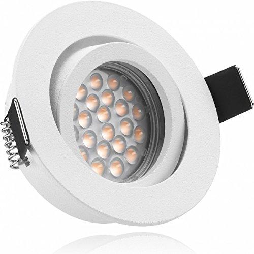 LED Einbaustrahler Set Weiß matt mit LED GU10 Markenstrahler von LEDANDO - 5W - warmweiss - 60° Abstrahlwinkel - schwenkbar - 50W Ersatz - A+ - LED Spot 5 Watt - Einbauleuchte LED rund