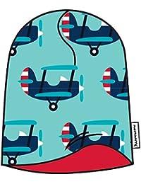 MAXOMORRA Jungen Mütze Blau Flugzeug Velour BioBaumwolle