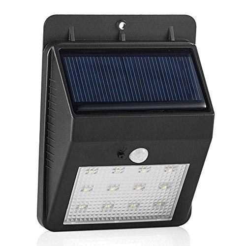 GRDE®Lampade Solari Illuminazione Giardino Energia Solare con 12 LED e Pannello Solare 5.5V, Luce Solare Lampade a Muro per Esterno da Parete con Sensore di Movimento per Giardino, Cortile, Patio, Corridoio, Scale, Fuori Muro ecc. (1,Nero)