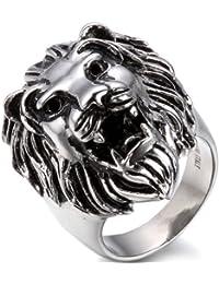 JewelryWe Gioielli anello da uomo donna retro stile acciaio inossidabile Lione testa Band (con regalo borsa, misura selezionabile)