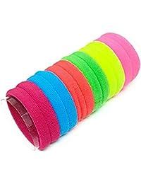 GLITTERIA Hair Ponytail Holder Elastic Rubber Band for Girls - Pack of 6 (Multicolour)