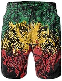 Yt92Pl@00 Mens 100/% Polyester Libya Moose Beachwear Casual Beach Shorts with Pockets