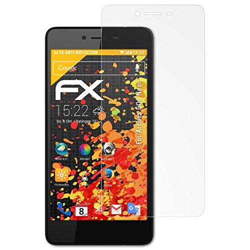 atFolix Panzerfolie kompatibel mit Archos 50e Neon Schutzfolie, entspiegelnde & stoßdämpfende FX Folie (3X)