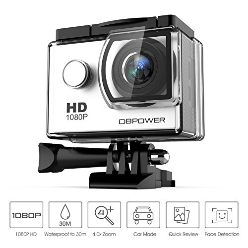 Galleria fotografica DBPOWER® Action Camera impermeabile 1080P HD 12MP KIT 2 Batterie ed accessoristica varia (Bianco)