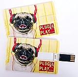 Witziger USB Stick im Visitenkartenformat, Scheckkarte, Kreditkarte, 4 GB, witziger Mops mit Kopfhörern