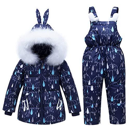 Skijakkeset Jungen Mädchen Daunenanzug Bekleidungsset Niedliche Hasenohren mit Kapuze Winterjacke Daunenjacke + Daunenhose Bekleidungsset Schneeanzug