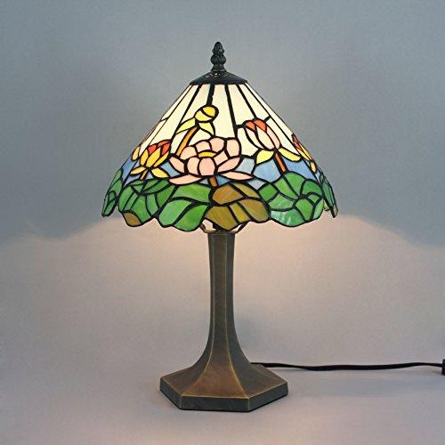10 Zoll Weinlese-pastorale blühende Blume Tiffany-Art-Buntglas-Tabellen-Lampe Nachttischlampe (Tiffany Blumen-art-glas)