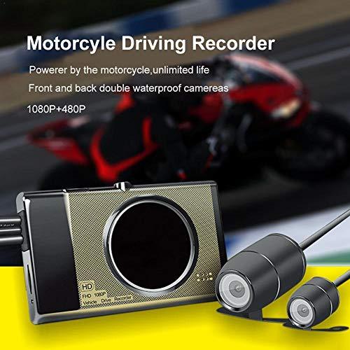 jezmiSy, Auto-DVR, Fahren-Recorder, 3-Zoll-Motorrad-Front-Back-Dual-Kamera-Motor Dash Cam-Motorrad Dual-front-tasche