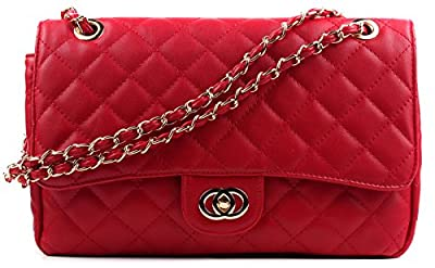 Aossta Womens Large Faux Leather Quilted Twist Lock Shoulder Bag