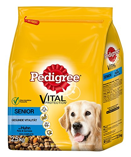 Pedigree Senior 8+ Hundefutter Huhn, Reis und Gemüse, 3 Beutel (3 x 2,5 kg)