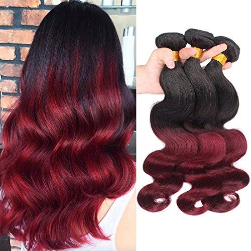Dai Weier Ombre Brasilian Weave Human Hair Red Wine 1B99j Body Wave Remy Haare Extensions Braun 3 Bundln Weaves For Black Women 20 22 24 Inch