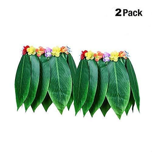 AiBest Hula-Rock künstliche hawaiianische Blätter Rock DIY Requisiten für Sommer-Kostümparty (2er-Pack)