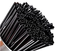 Fashlady 200pcs Disposable PP Black Bendy Straw Drinking Straws for Cocktails and Long Drinks