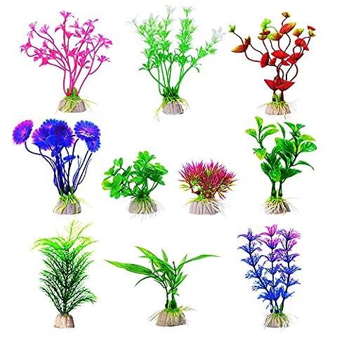 Mudder Aquarium Plastic Plant Fish Tank Plants Aquarium Decor Plants, 10 Pieces - Vario Piedistallo