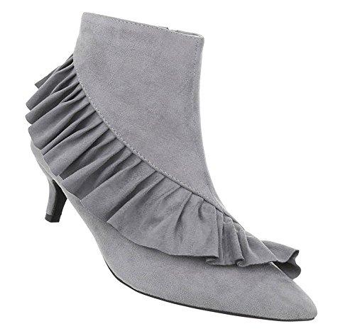 Damen Schuhe Stiefeletten Boots Grau 40
