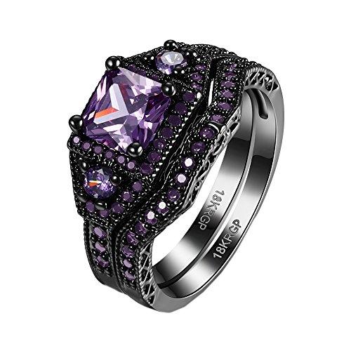 HIJONES Donne Annata Placcato Nero Principessa Cut Cubic Zirconia Diamante Matrimonio Anello Set di 2 anelli Viola 15