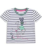 The Essential One - Girls Kids Striped T-Shirt - Ellie Mouse - 4-5 Yrs - White/Navy Blue/Green - EOT319
