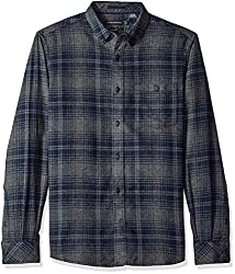 French Connection Mens Connery Regular-Falco Flannel, Charcoal Mel/Marine Blue, M