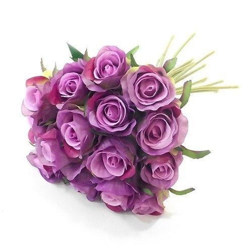 Künstlicher Rosenstrauß mit 15 lilanen Rosen mit Stiel, 25 cm Länge, für Zuhause & Hochzeiten