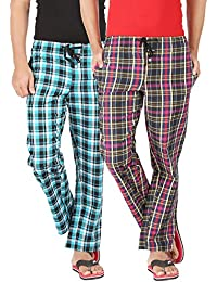 Joven Men's Cotton Assorted Checkered Multicolor Pyjama Pack 0f 2