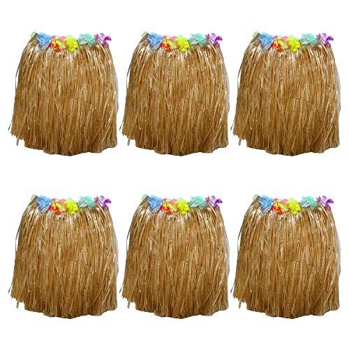 6 Hawaii Röcke - Bunte Seide Blumenimitat Gras Rock für Kostümpartys, Veranstaltungen, Events, Geburtstage, Feiern & Strand - Elastischer Hula Rock cooles Kleid Röcke für Frauen - Luau Hawaii Party Z