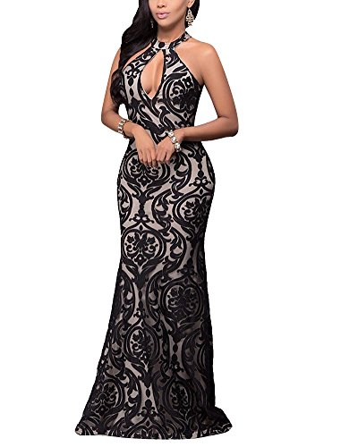 Damen Elegant Kleid Abendkleid V-Ausschnitt Mit Spitzen Ärmellos Langes Fishtail Brautjungfer...