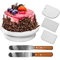 HBlife 10.8 '' Plato Giratorio para Tartas, 2 Pcs Espátulas de Repostería para Frosting + 3Pcs Peines de Repostería para Decorar