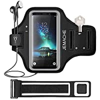 Galaxy S20+/S10+/S9+/S8+ Armband, JEMACHE Gym Sports Running Workouts Phone Arm Band Case for Samsung Galaxy S20 Plus/S10 Plus/S9 Plus/S8 Plus with Key/Card Holder (Black)