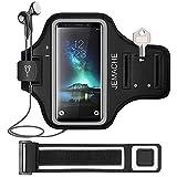 Galaxy S10/S9/S8/S7 Edge Brassard, JEMACHE Gym Courir Sport Armband pour Samsung Galaxy S7 Edge/S8/S9/S10 avec Clé/Cartes de Visites (Noir)