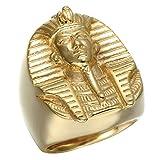 Epinki Joyería Acero inoxidable Anillo Oro Egipcio Faraón Anillo para Hombre Tamaño 20