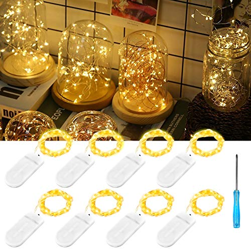 icro LED Lichterkette Kupfer mit Batterie,Drahtlichterkette IP67 Wasserdicht Lichterkette für Party Garten Weihnachten Halloween Hochzeit Beleuchtung Deko(mit 8 Stück Batterien) ()