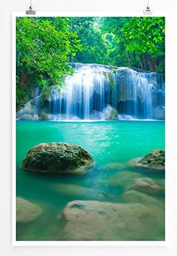 EAU ZONE Home Bild - Landschaft Natur – Erawan Wasserfall Kanjanaburi Thailand- Poster Fotodruck in höchster Qualität