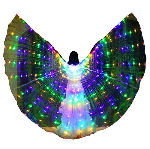 Jolie LED Engelsflügel Erwachsene Leuchtende Umhänge Bunt Schmetterlingsflügel für Bauchtanz Party Cosplay - Bauchtänzerinnen Kostüm Kinder