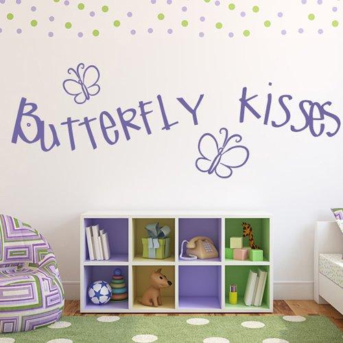 Butterfly Kisses Citazione ??Farfalle & Insect Wall Stickers Home Decor Art Stickers disponibile in 5 dimensioni e 25 colori Extra Grande Verde muschio