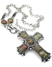 KONOV Schmuck Herren Damen Halskette, Retro groß Gotik Kreuz Legierung Anhänger mit Kette, Grün Silber