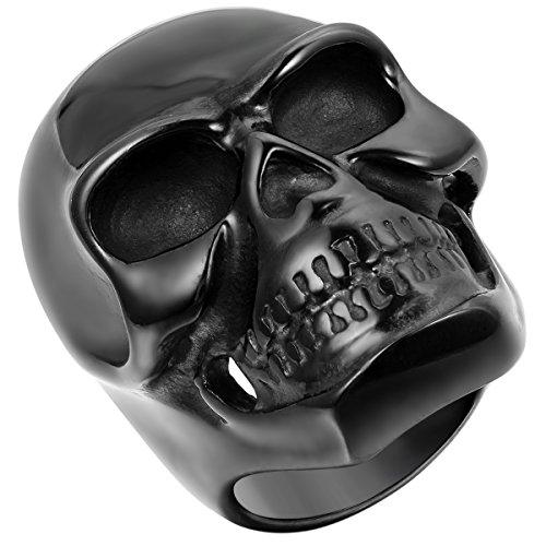 JewelryWe Schmuck Biker Herren-Ring, Edelstahl, Gotik Große Schwer Totenkopf Schädel, Schwarz - Größe 59