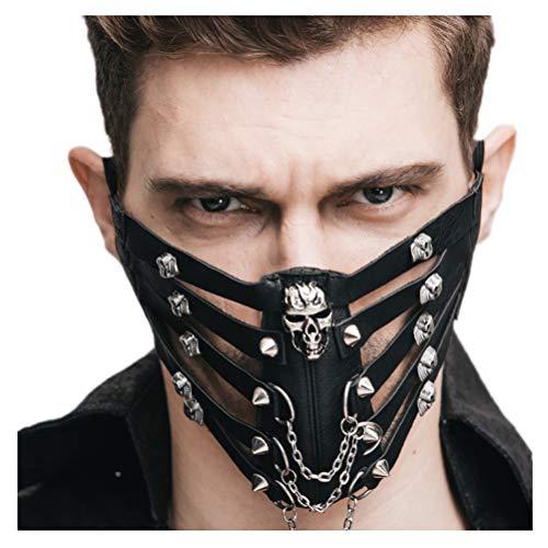 (Jeerui Punk Maske Totenkopf Rock Stage Perform Herren Damen Leder Maske Steampunk Skelett Motorrad Biker Eishockey Radfahren Winter Half Face Mask Masquerade (3 Farben))