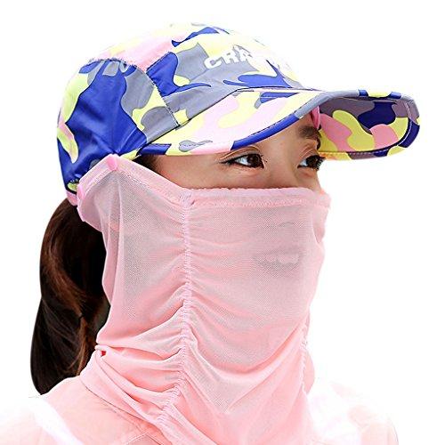 Mujer niña 2en 1gorra visera anti-UV camuflaje plegable sombrero de sol sombrero Legionnaire con máscara extraíble protección solar Rostro Cuello para Bicicleta Camping senderismo trekking pesca, color camuflaje rosa, tamaño talla única