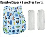#6: HOME CUBE® Adjustable Reusable Baby Washable Printed Cloth Diaper Nappies With 2 Pcs Wet-free inserts For Babies of Ages 0 to 2 years - Desing - 03