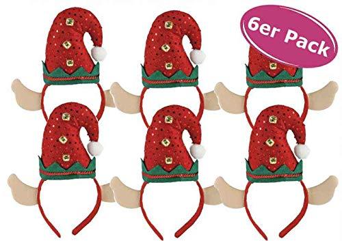 itsisa Haarreif Weihnachtself mit Glöckchen, 6er Set - Haarreifen Weihnachten, Weihnachtsfeier, Weihnachtsk
