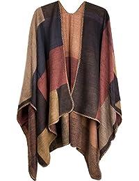 styleBREAKER Poncho mit Rechteck Muster, Umhang, Überwurf Cape, Wendeponcho, Patchwork Design, Damen 08010008
