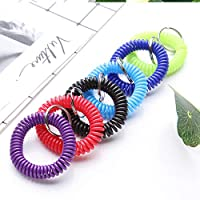 aixingwuzi Elegant 1 Pc New Plastic Spring Coil Gym Key Holder Jogging Swimming Wrist Band Split Ring for Camping, Picnic and Other Outdoor Activities(None random)