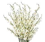 TYEERDEC Flores Orquídea Artificiales 12 Ramas Flores Oncidium de Danza Dama Artificial de La Seda para El Hogar de La Boda Decoración de La Oficina Mobiliario Festivo (Blanco)