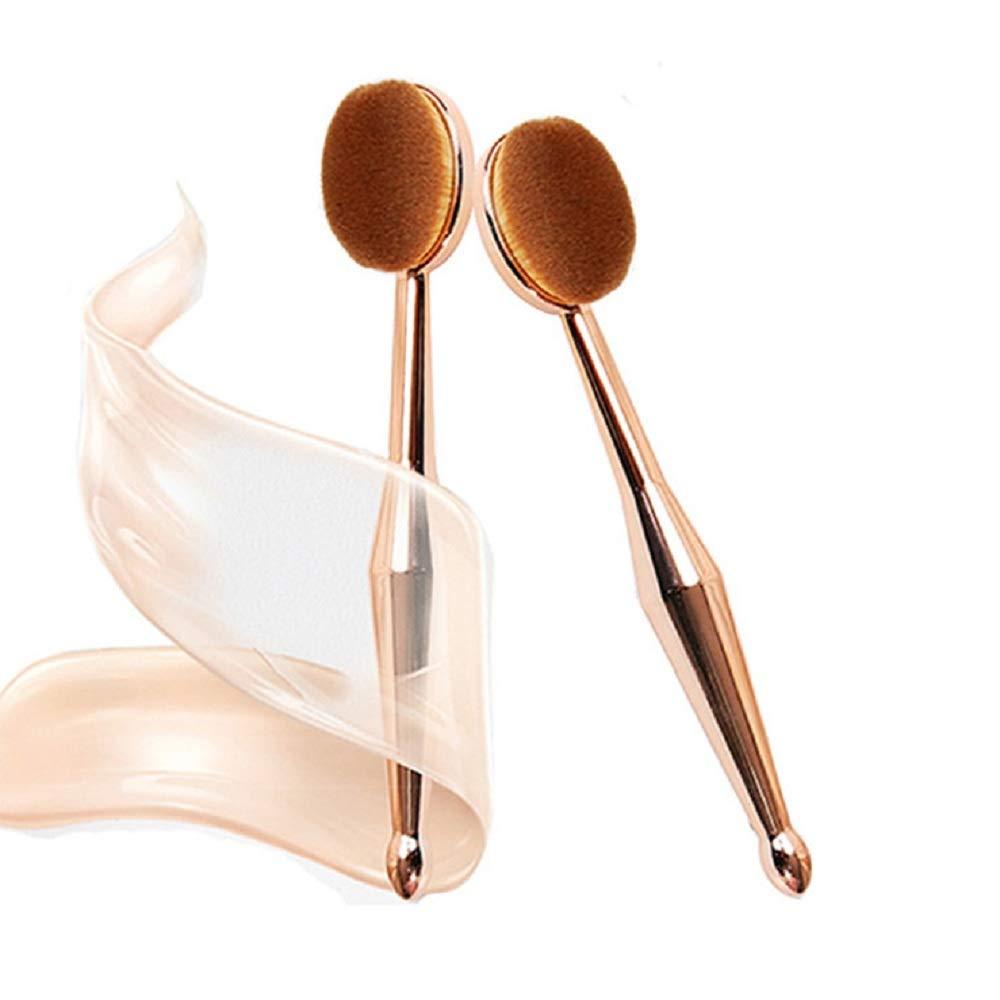 1 UNID Pro Oval Pincel de maquillaje Herramienta de pinceles cosméticos Cepillo de dientes en forma de pincel en polvo Líquido Base de maquillaje Contorno Corrector Herramienta de fusión (Oro)