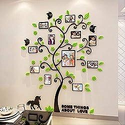 Alicemall Sticker Arbre Cadre Photo Sticker Mural 3d Décoration Mural Chambre Autocollant Mural 3d (style 3(feuilles vertes))
