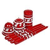Velas Navidad velas diseño de reno de Navidad rojas–Set de 7velas navideñas